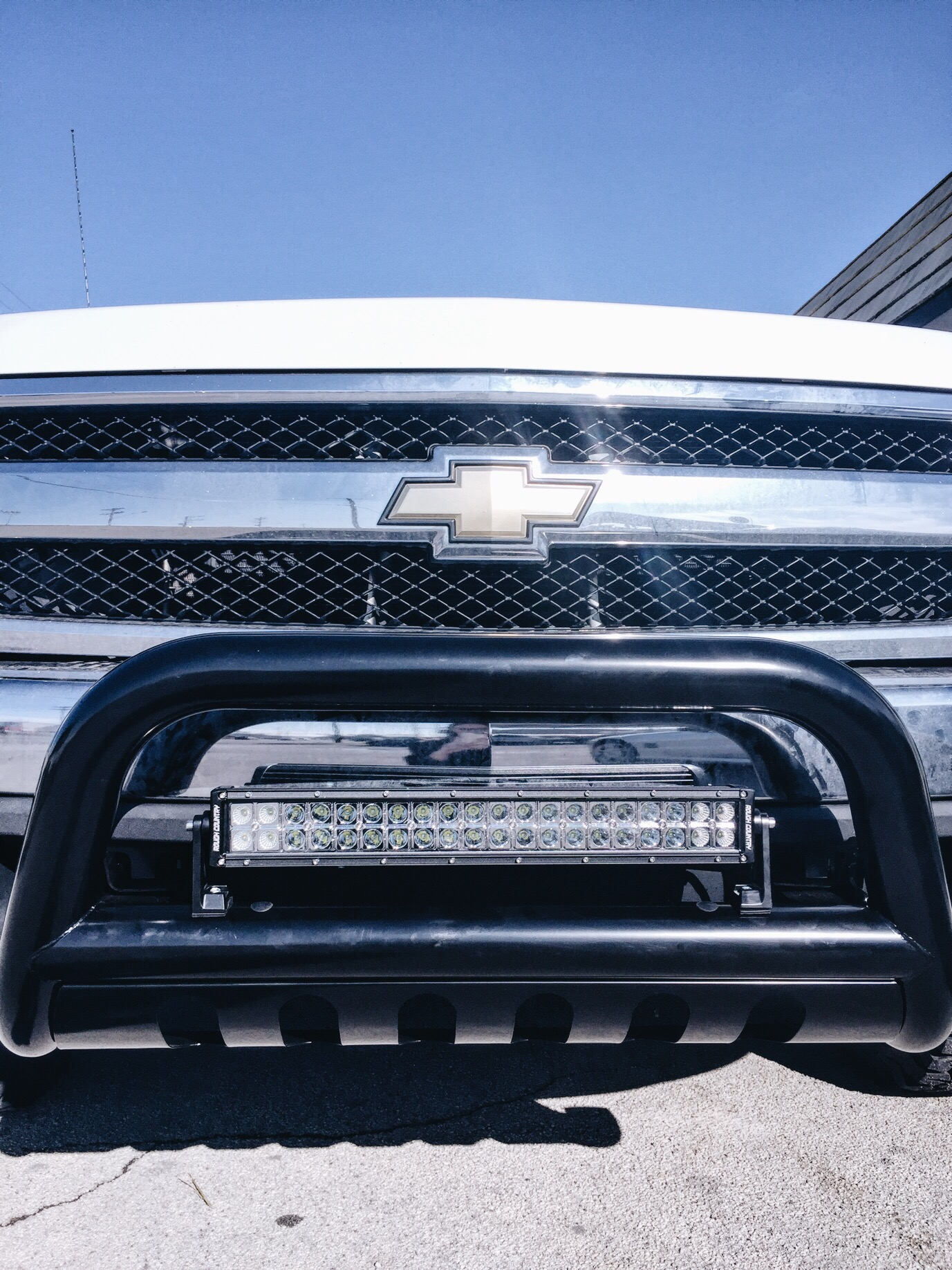 Chevy grill with bull bar + light bar
