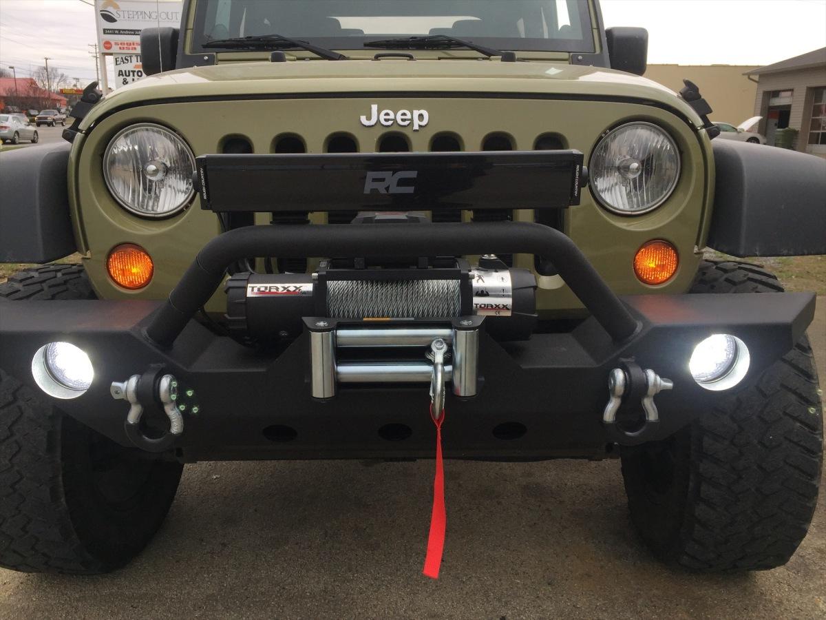 2013 Jeep Wrangler Jk Bumper Winch Fog Lights 50 Windshield Light Bar 20 Light Bar Soft